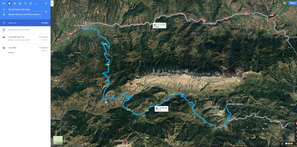 mapa La Seu - Mirador Gresolet