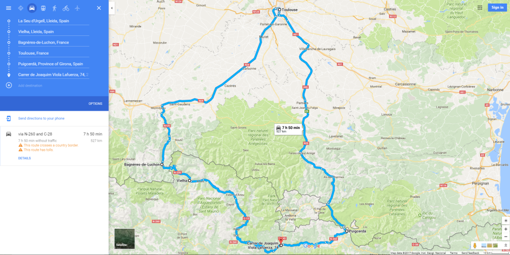 Mapa La Seu - Vielha - Louchon - Toulouse - Puigcerda